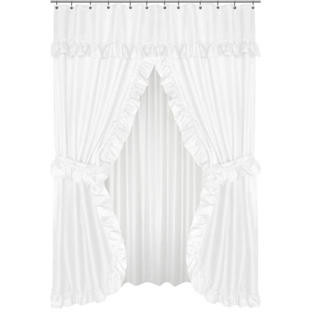 Royal Bath Lauren Double Swag Dobby Fabric Shower Curtain, 100% Polyester, Size 70X72, Color White