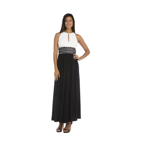 R&M RICHARDS Womens Black Embellished Sleeveless Keyhole Full-Length Empire Waist Formal Dress  Size: 12