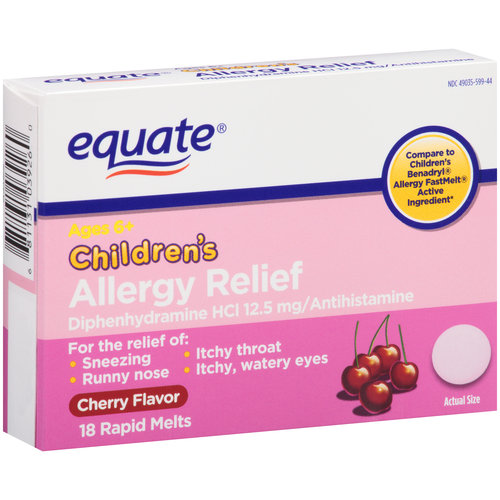 Equate Children's Cherry Flavor Allergy Relief Rapid Melts, 18 count