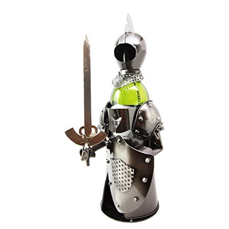 Medieval Suit of Armor Knight Hand Made Metal Wine Bottle Holder Caddy Decor