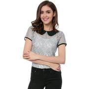 Women's Semi Sheer See Through Peter Pan Collar Lace Top S Gray