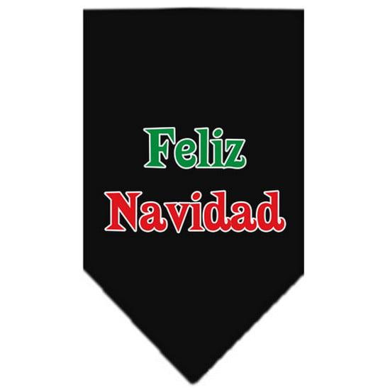 Feliz Navidad Screen Print Bandana Black Large