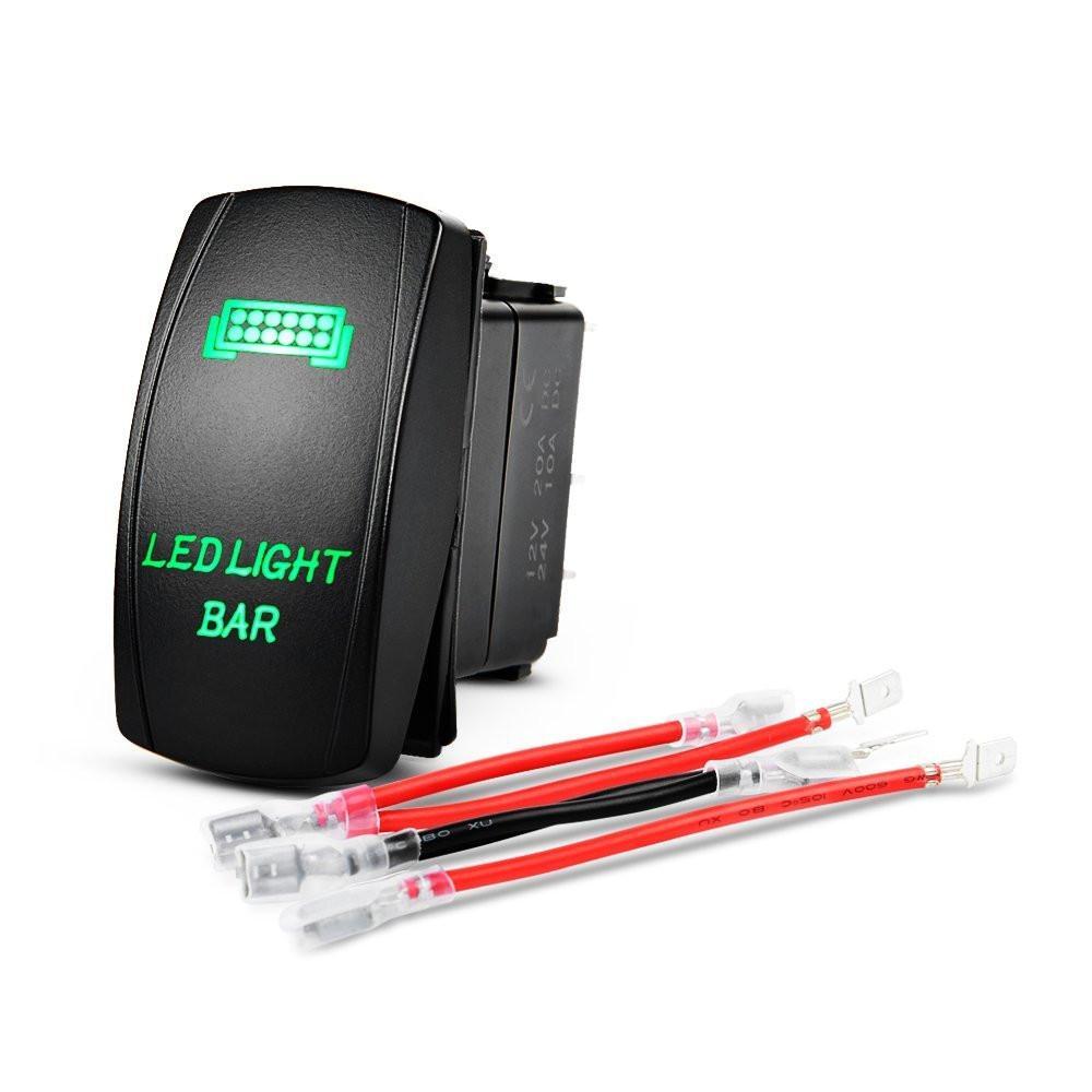 Nilight LED Light Bar Rocker Switch Green 5Pin Laser On/Off LED Light 20A/12V 10A/24V Switch jumper wires set