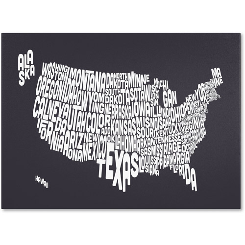 Trademark Art 'CHARCOAL-USA States Text Map' Canvas Art by Michael Tompsett