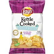 Lay's Kettle Cooked Potato Chips, Lightly Salted with Olive Oil & Herbs, 8 oz Bag