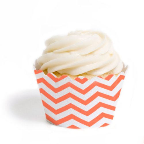 Dress My Cupcake Standard Cupcake Wrappers, Chevron, Coral, Set of 12