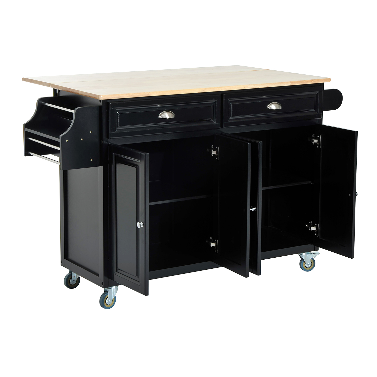 HomCom Kitchen Island   Modern Rolling Storage Cart On Wheels With Wood Top  (Black)