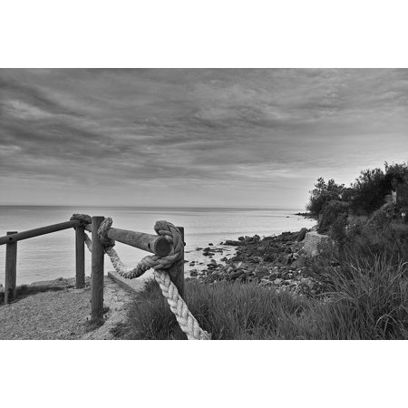 Seaside Rocks - LAMINATED POSTER Seaside Rock Side Cloud Black And White Sand Poster 24x16 Adhesive Decal