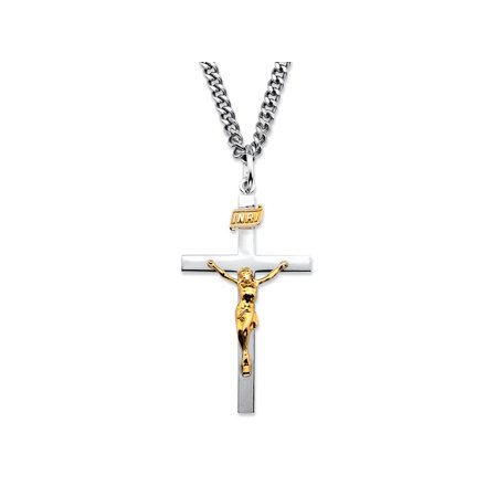 Two-Tone INRI Crucifix Pendant Necklace in 14k Gold over Sterling Silver with Stainless Steel