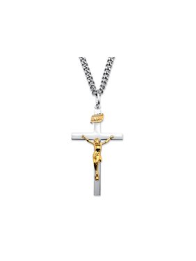 Two-Tone INRI Crucifix Pendant Necklace in 14k Gold over Sterling Silver with Stainless Steel Chain