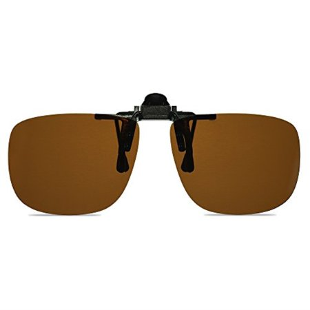 Wangly Polarized Unisex Clip On Flip Up Sunglasses Over Prescription And Reading Glasses Frames Suitable For Driving, Brown (Clip On Prescription Glasses)