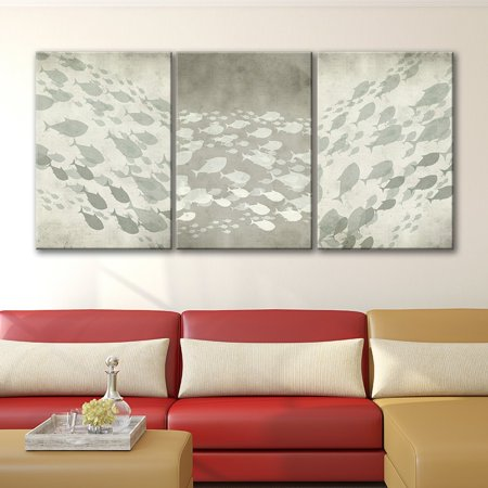 wall26 3 Panel Canvas Wall Art - Abstract School of Fish Under The Sea - Giclee Print Gallery Wrap Modern Home Decor Ready to Hang - 16