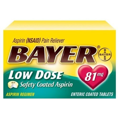 2 Pack - Bayer Low Dose Safety Coated Aspirin 81mg 32 Tablets Each