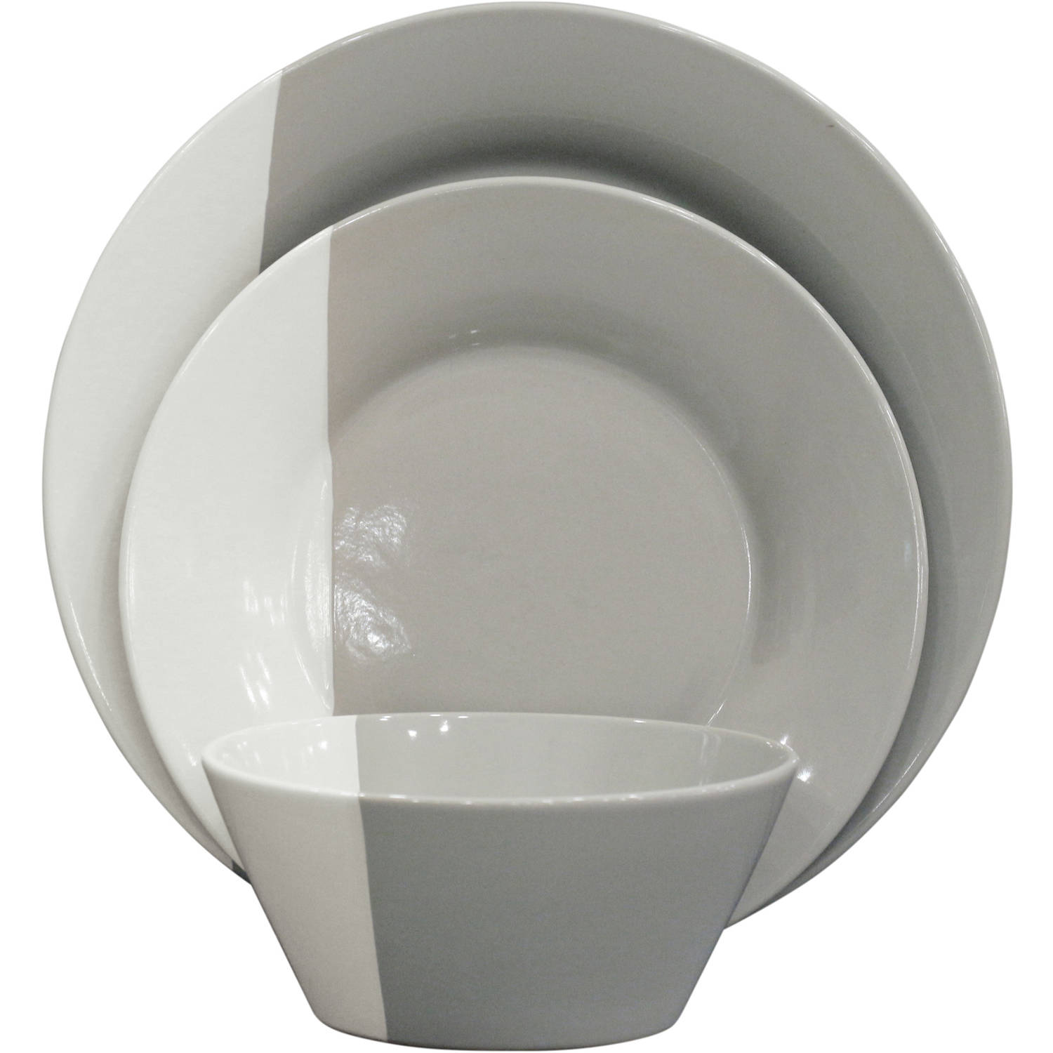 Better Homes and Gardens Color Dipped 12-Piece Dinnerware Set Grey - Walmart.com  sc 1 st  Walmart : white and black dinnerware - pezcame.com