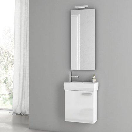 ACF by Nameeks ACF C01-GW Cubical 18-in. Single Bathroom Vanity Set - Glossy White