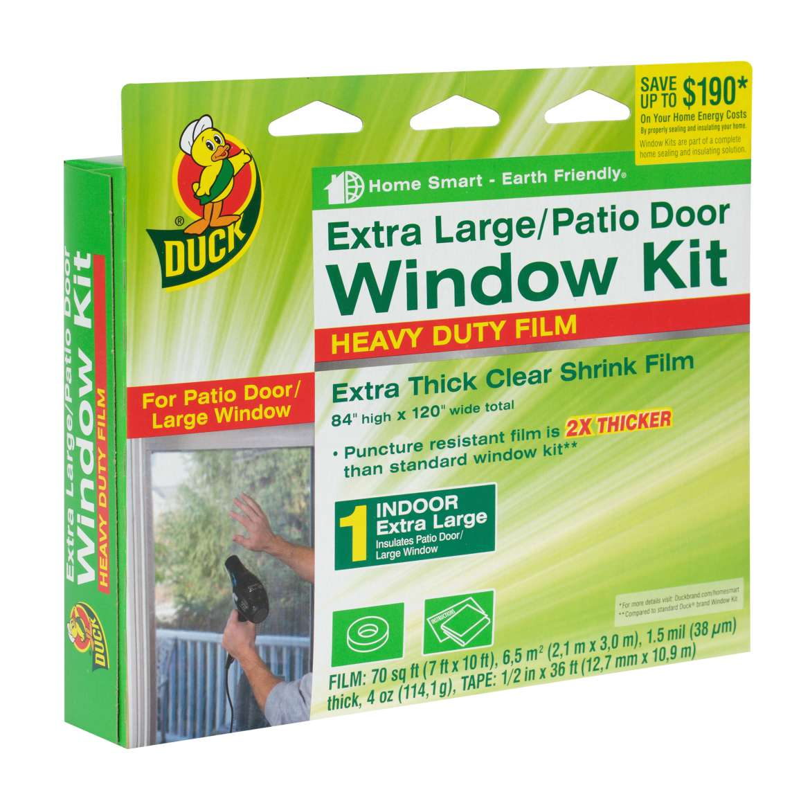 Duck Brand Heavy-Duty Window Shrink Kit, Extra Large Patio Door