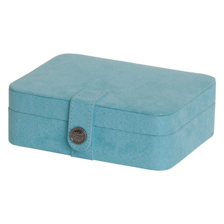 Mele; Co. Giana Blue Plush Fabric Jewelry Box with Lift Out Tray - 7.38W x 2.38H in.