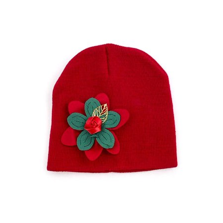 (Solid Red Christmas Holiday Ornate Simple Kids Flower Beanie Hat)