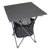 """27.25"""" Aluminum Roll Slate Graphite Grey Table with Storage"""