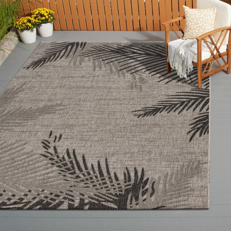 Palm Leaf Cut Out (LR Home Captiva Beige / Black 5 ft. x 7 ft. Polypropylene Coastal Beach Style Contemporary Shaded Tropical Leaf Palm Leaves Indoor/Outdoor Area Rug )