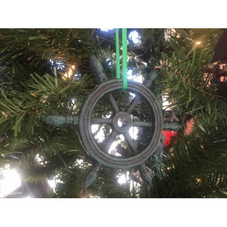 Christmas Decorations Ideas For Office (Seaworn Blue Cast Iron Ship Wheel Decorative Christmas Ornament 4
