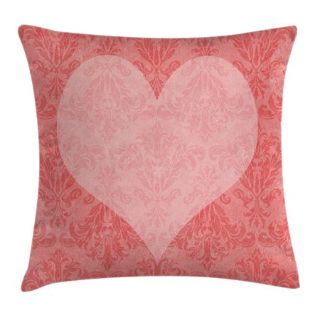 Coral Throw Pillow Cushion Cover, Big Pink Heart Shape on Ancient Damask Pattern Faded Old Traditional Vintage, Decorative Square Accent Pillow Case, 18 X 18 Inches, Coral Light Pink, by Ambesonne