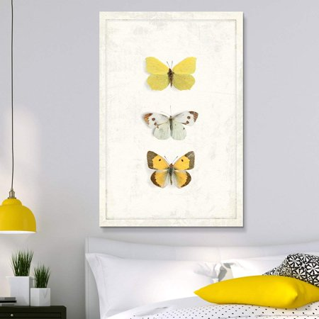 wall26 - Canvas Wall Art - Hand Drawn Yellow Butterfly Collection Series 1 Artwork - Giclee Print Gallery Wrap Modern Home Decor Ready to Hang - 12x18 inches