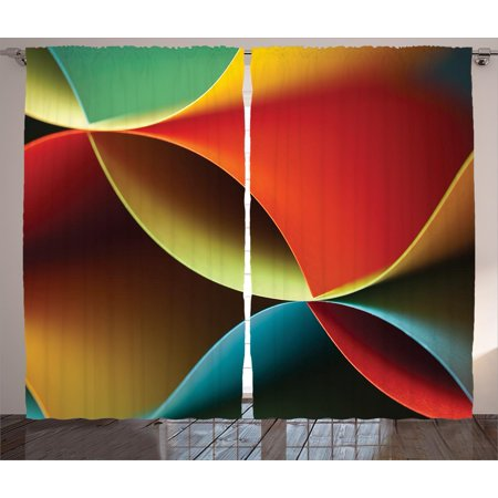 Abstract Decor Curtains 2 Panels Set, Graphic Curved Origami Design with Colored Details Artwork, Window Drapes for Living Room Bedroom, 108W X 90L Inches, Orange Blue White and Red, by Ambesonne ()