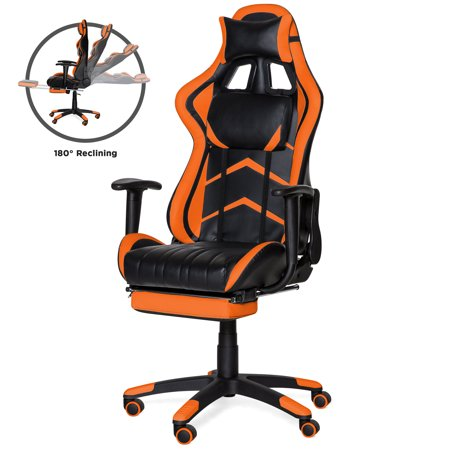 Best Choice Products Ergonomic High Back Executive Office Computer Racing Gaming Chair w/ 360-Degree Swivel, 180-Degree Reclining, Footrest, Adjustable Armrests, Headrest, Lumbar Support - Orange