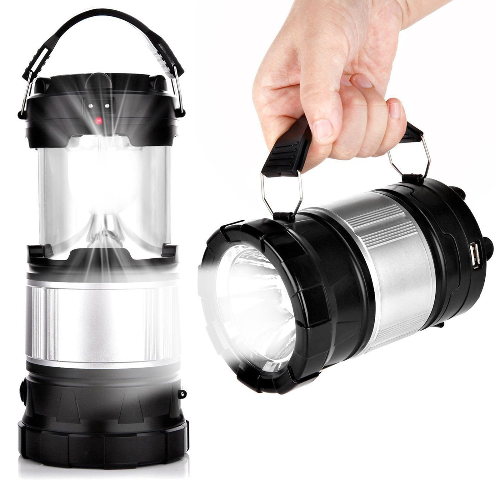 EEEKit Solar Camping Lantern, 2-in-1 Rechargeable Handheld Flashlights, Collapsible LED Lantern Camping Gear Equipment for Outdoor Hiking, Camping Supplies, Emergencies, Hurricanes, Outages