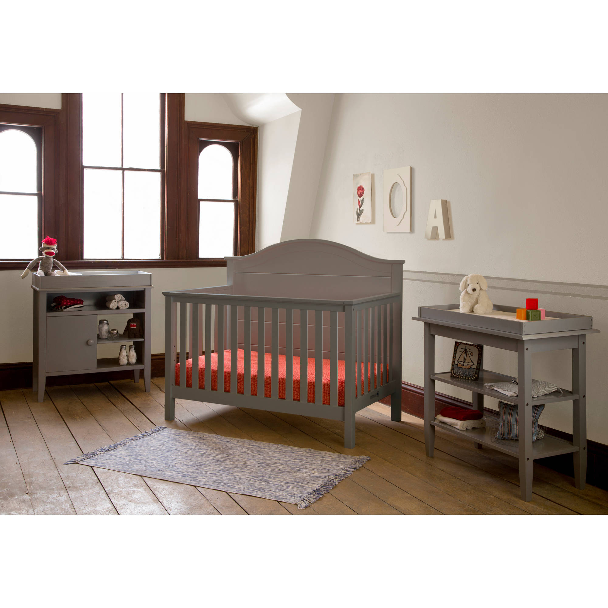 Lolly and Me Cottage 4-in-1 Fixed-Side Convertible Crib, Pebble Grey
