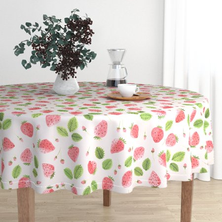 Round Tablecloth Wild Strawberries Watercolor Strawberries Fruit Cotton Sateen