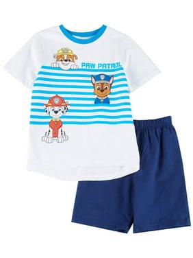 Paw Patrol Little Boys Stripe Tee & Solid Shorts Set