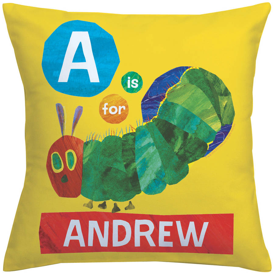 Personalized Very Hungry Caterpillar Alphabet Throw Pillow