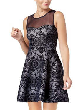 01b20403f Product Image Trixxi Womens Juniors Velvet Mini Party Dress Navy M