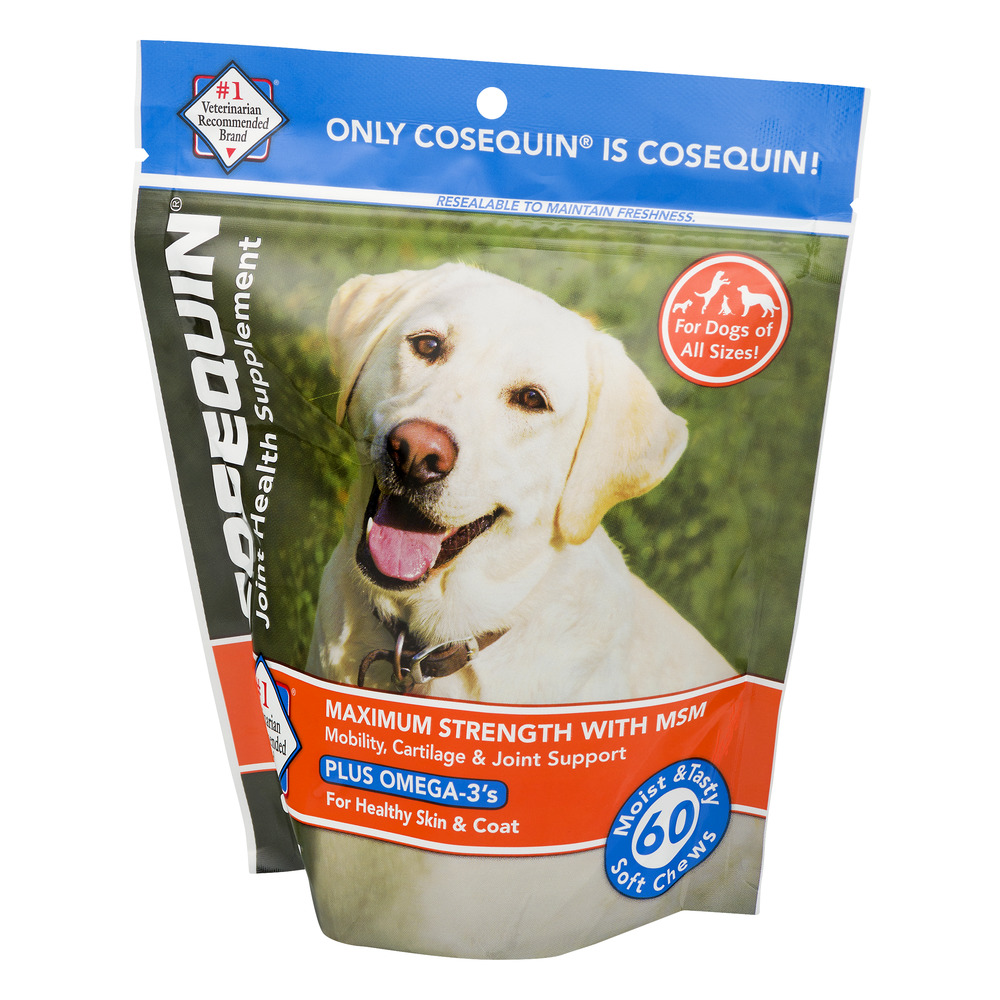 Nutramax Cosequin Maximum Strength (DS) Plus MSM Joint Health Dog Supplement, 60 Soft Chews