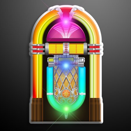 FlashingBlinkyLights 1950's Jukebox Light Up Flashing LED Lapel Pins - Pin Up Lights