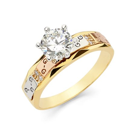 14K Tri Color Solid Gold 1 Ct. Round Cut Solitaire Cubic Zirconia CZ Wedding GGG Engagement Ring - size 6.5