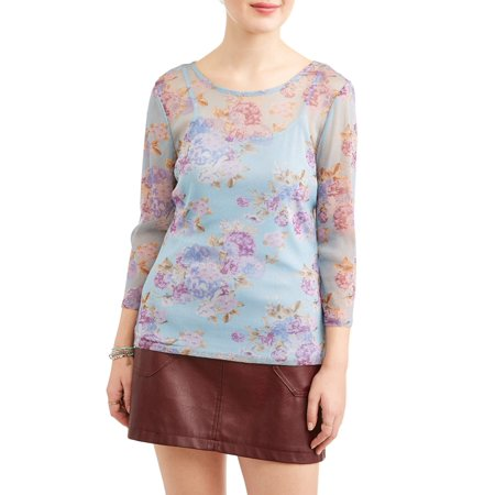 Juniors' Floral Printed Mesh 3/4 Sleeve with Cami (Mesh Underwire Cami)