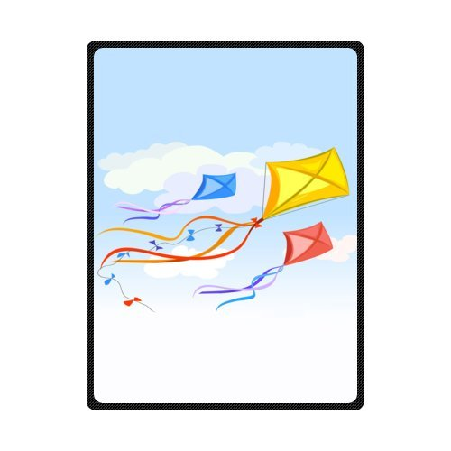 CADecor Beautiful Kite Flying In The Sky Fleece Blanket Throws 58x80 inches