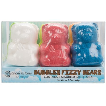 6 Count of Ginger Lily Farms Bubbles Fizzy Bears Bath Bombs, Assorted - Bath Bomb Holder