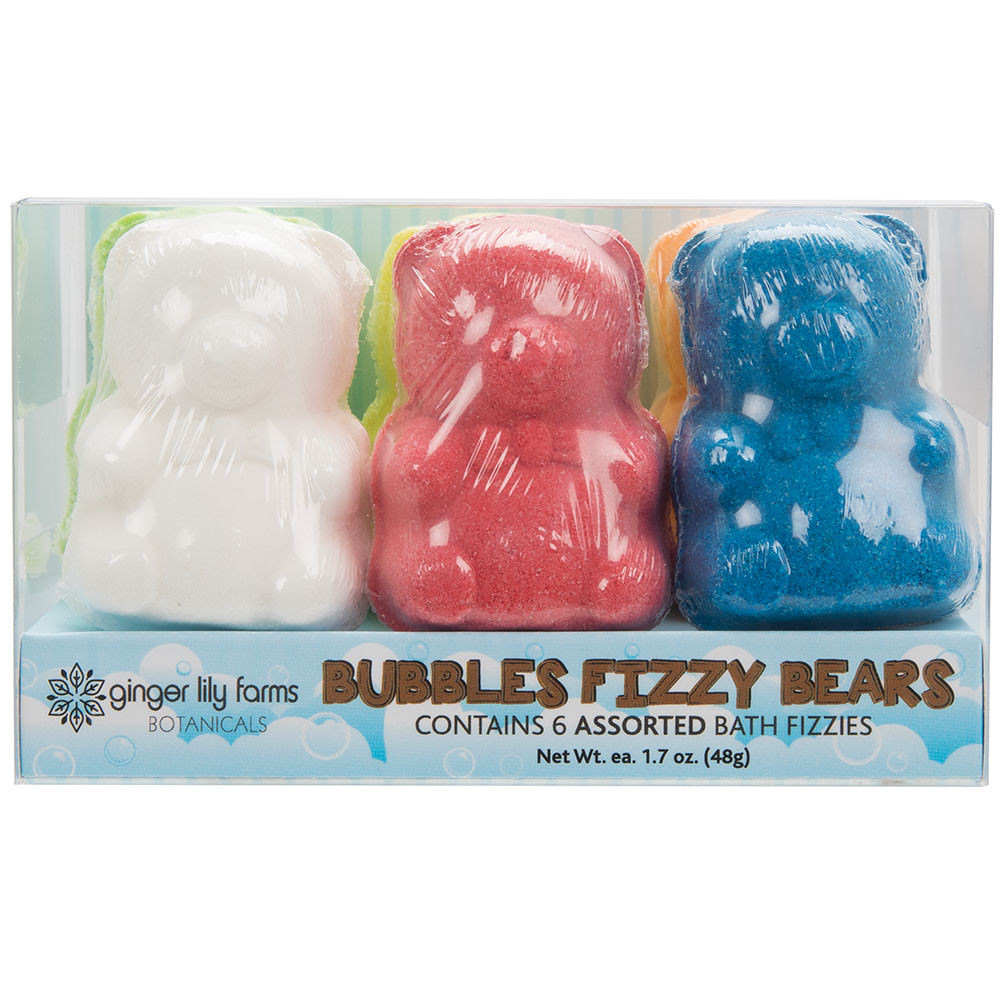6 Count of Ginger Lily Farms Bubbles Fizzy Bears Bath Bombs, Assorted Scents