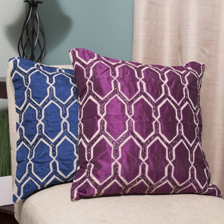 Sweet Home Collection Luxury Zippered Beaded Decorative Throw Pillow - Walmart.com