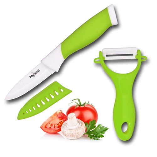 New England Cutlery Ceramic Paring and Peeler Set (Set of 3)