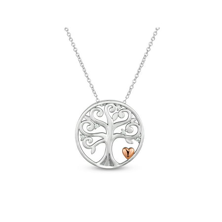 White Topaz Sterling Silver with Rose-Plated Heart Family Tree of Life Necklace, 18