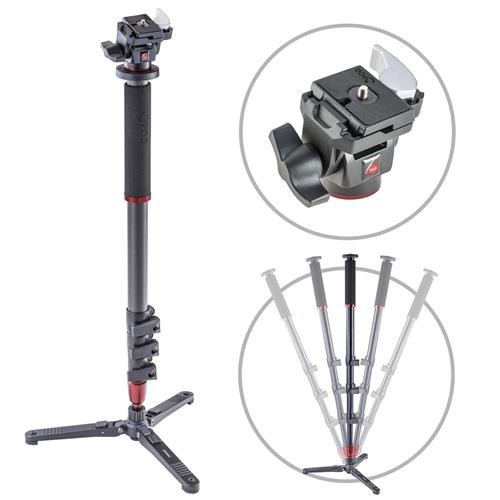 3Pod Orbit 4-Section Carbon Fiber Handheld Monopod Stick for DSLR Photo & Video,Sports Cameras, Fluid Base, Tilt Head with Quick Release, Tripod Legs