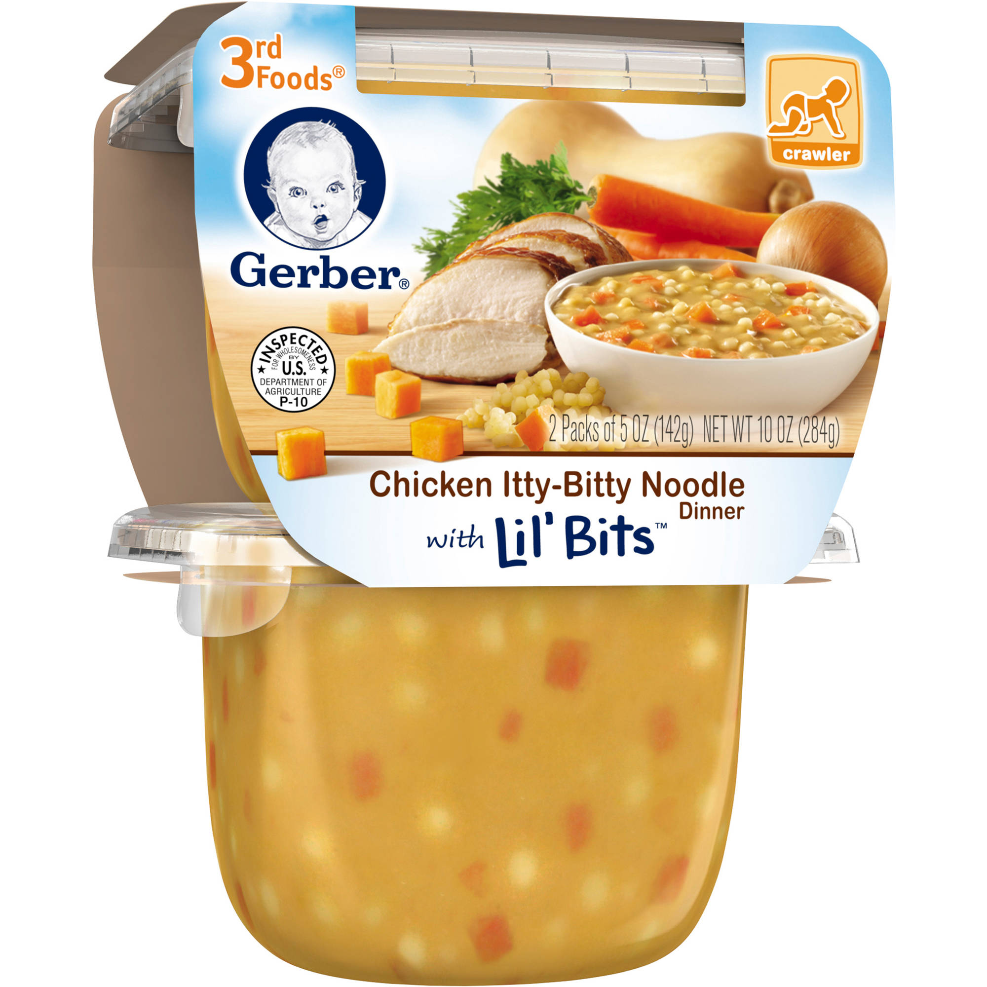 Gerber 3rd Foods Chicken Itty-Bitty Noodle Dinner with Lil' Bits, 5 oz, (Pack of 6)