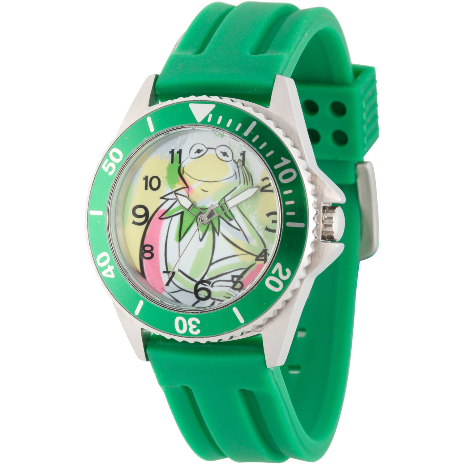 Disney The Muppets Kermit the Frog Men's Silver Honors Stainless Steel Watch, Green Bezel, Green Rubber Strap