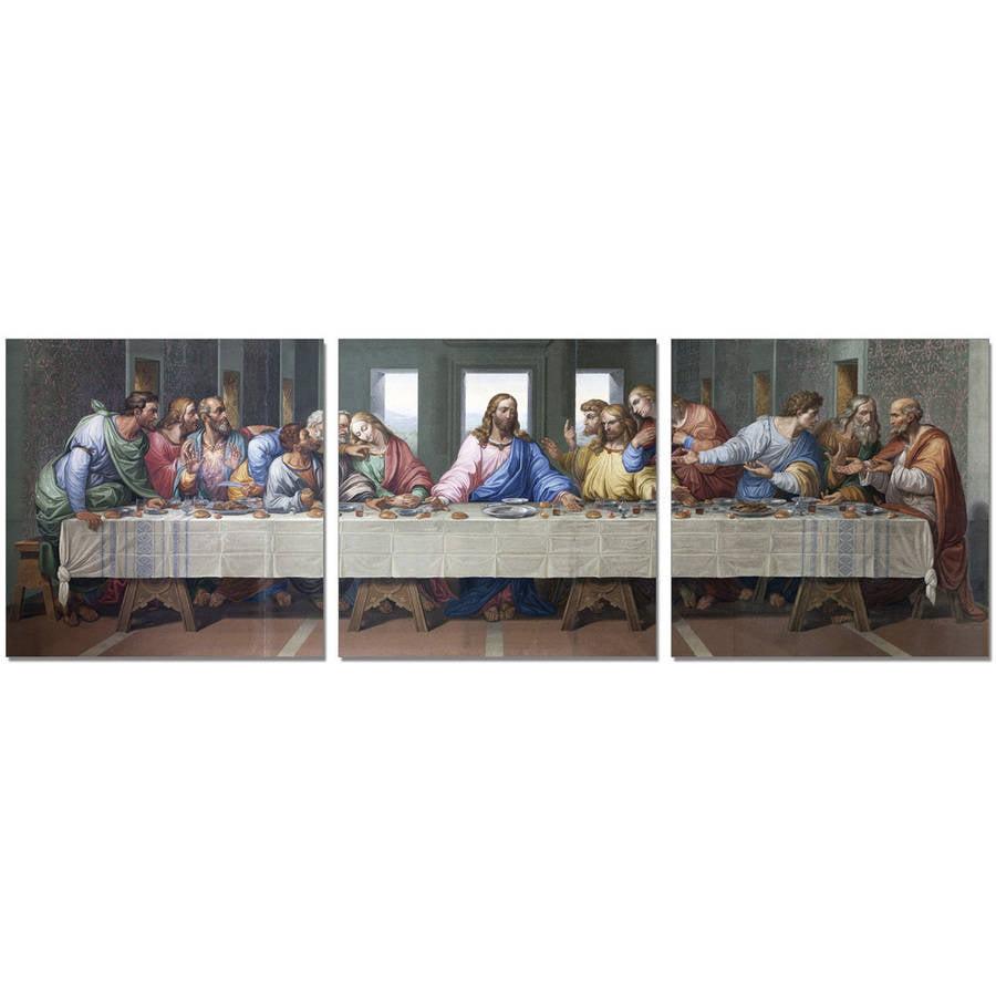 "Furinno SeniA Last Dinner 3-Panel MDF Framed Photography Triptych Print, 48"" x 16"""