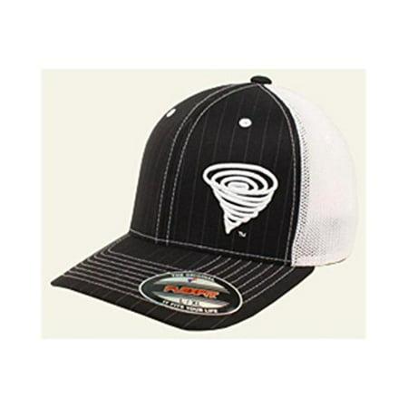 Pinstripe Ball Cap - M&F Western Products 1518601-S-M Twister Mens Flex Fit Offset Pinstripe Mesh Back Ball Cap, Black - Small, Medium